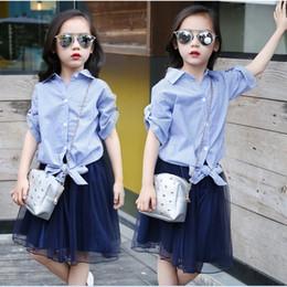 Wholesale Wholesale Korean Plus Size - 2016 Korean Fashion Big Girls Outfits 120-160 Blue Striped Shirt + Puff Tulle Skirt 2PCS Sets Plus Size Children Outfits K7207