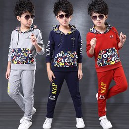 Wholesale Boys Costume Clothes - Boys Clothes Set Winter Hoodes +Pants Two-pieces Suit Cotton Teenage Costume Children Clothing Sets New Year Jersey 4to 14 Years