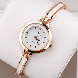 Wholesale Ladies Rose Gold Chronograph Watch - Simple Rose Gold Watches Women Girl Quartz Thin Bracelet With Metal Wrist Watch Lady Elegant Clock Relogio Ceasuri Hodinky