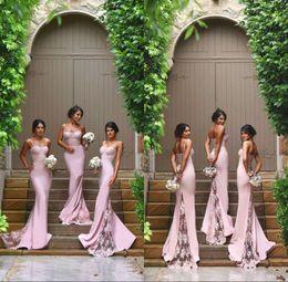 Wholesale Satin Column Bridesmaid Dress - Cheap Sexy Mermaid Column Bridesmaid Dresses 2016 Spaghetti Straps Sweetheart Hot Pink Lace Backless Bridesmaids Maid Of the Honor Dresses