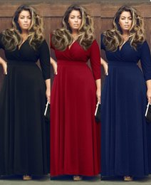 Wholesale Long Sleeve Dress For Clubs - 2016 Retail Autumn&Winter Sexy Deep V Neck Long Dress Cheap Prom Dresses Plus Size Cocktail Dresses for Women 3XL KF378