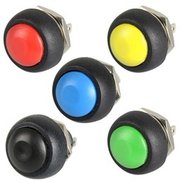 Wholesale Push Button Switch Momentary Blue - 5x Black Red Green Yellow Blue 12mm Waterproof Momentary Push button Switch B00019 BARD