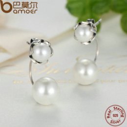 Wholesale Authentic Pearl Earrings - BAMOER 2016 New 100% Authentic 925 Sterling Silver Pearls Special Style Female Earrings TOP Quality Drop Earrings Jewelry SCE002