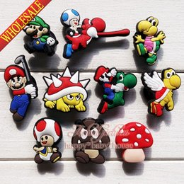 Wholesale Super Mario Shoes Kids - Wholesale-High Quality 20PCS Super Mario Bros PVC shoe charms ornaments shoe accessories for Wristbands,Fit croc jibz,Kids Party Gifts