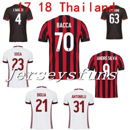 Wholesale Honda Jerseys - 2017 2018 AC Milan jersey 17 18 home red soccer jerseys BACCA Suso Abate Honda Lapadula Milan top quality football shirts