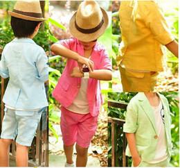 Wholesale Boys Formal Outfit - 2016 Han Edition Summer Boy Handsome Candy Color Pure Color Suit Pants Pants Boy Suit 2Pcs Short Sleeve Suit Shorts Set Kids Clothes Outfits