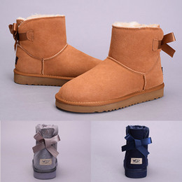 Wholesale Soft Ribbon - New Arrival WGG Women's Australia Classic tall Boots Women girl boots Boot Snow Winter black blue Bow tie boots leather shoes size 36-41