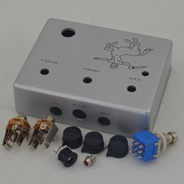 Wholesale Interface Boxes - NEW DIY Guitar Effect Pedal TTONE Klon Aluminum Pedals Box Foot Pedal Switch Interface knobs True Silver