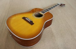 Wholesale Oem Acoustic Guitars - OEM Guitar New Acoustic Guitar High Quality Musical instruments with cherry burst color!