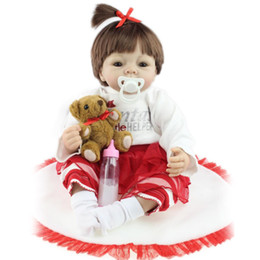 Wholesale Cheap Real Dolls - Cheap Wholesale 22 inches Baby Reborn Dolls For Girls Safe Soft Silicone Bebe Doll Hobbies Real Lifelike princess soft toys