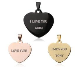Wholesale Heart Name Tags - Free Engrave Name ID Tag Pendants & necklaces Love Heart-shape Stainless Steel Heart Pendant Necklaces Unique Customized Logo Jewelry