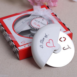 Wholesale Love Box Cake - Pizza Cutter Stainless Steel A Slice Of Love Multi Function Cake Knife Wedding Decor Gifts Box Packing 6yk F R