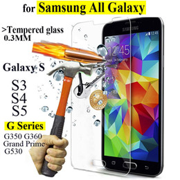 Wholesale Glass For Galaxy S4 - 9H 0.3mm Tempered Glass For samsung galaxy S3 S4 S5 Anti Shatter Screen Protector protective Film G350 G360 G530 Grand Prime