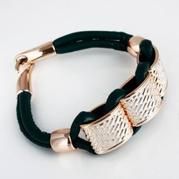 Wholesale Cheap Fashion Id Bracelets - Wholesale-Free Shipping Cheap Fashion Women Gift Gold Alloy Chain Charm leather Bracelet For Women Bangles Men Bracelets Free shipping