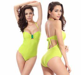 Wholesale Womens Halter Swimsuits - Hanky Set New 2016 Womens Swimming Suit Bikini Sexy Stamp Striped Halter Tie Poly Chest Size Siamese Swimsuit Beach Womens Swimwear Bikini