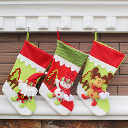 Wholesale Decoration Santa Claus - Christmas Stocking Socks Gift Bag Santa Claus Snowman Elk Pendant Christmas Decoration XMAS Ornaments Gifts WX-C29