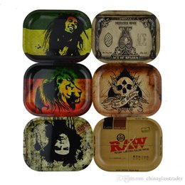 Wholesale Pipe Rolling Machines - 2017 Chic RAW BOB Marley Roll Tray Metal Tobacco Rolling Tray Glass Pipe Accessories Handroller Pipe Roll Trays Machine Tools