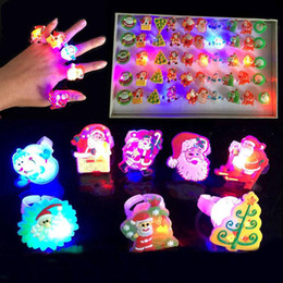 Wholesale Pumpkin Led Lights - christmas led ring lights Halloween decoration led finger lights mini decoration lights portable noverty pumpkin santa claus ghost pirate