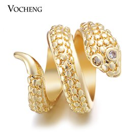 Wholesale Gold Inlay Jewelry - VOCHENG Endless Charms Inlaid CZ Stone 3 Colors Plating Copper Metal Snake Interchangeable Jewelry Fit Lambskin Bracelet VC-232