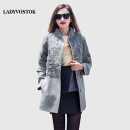Wholesale Hair Fasteners - Autumn winter long Woman coat wool Cashmere coat Removable sleeves Snap fastener Leisure Collar Real hair SF155(02)