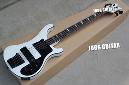 Wholesale Maple Fingerboard White - Custom RIC 4 Strings White 4003 Electric Bass Guitar Black Hardware Triangle MOP Fingerboard Inlay Awesome China Guitars