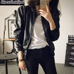 Wholesale Matches Leather Jackets - Wholesale- In the spring of 2017 new women's Korean slim slim PU leather jacket female student all-match locomotive jacket