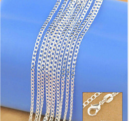 "Wholesale Genuine 925 Sterling Silver - Wholesale-Jewelry New 2016 Factory Sale 10PCS 16""-30"" Genuine Solid 925 Sterling Silver Fashion Curb Necklace Chain Jewelry with Lobster"