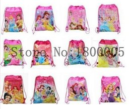 Wholesale Wholesale Princess Drawstring Backpack - 12 Pcs fashion lovely Cartoon Movies Princesses Drawstring Backpack Tote School Bag String Bags Children bag For Gift
