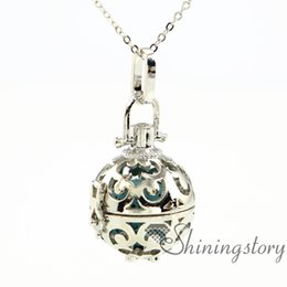Wholesale 14k Gold Ball Necklace - ball essential oil diffuser necklace diffuser pendants wholesale essential oil diffuser jewelry aromatherapy necklaces metal volcanic stone