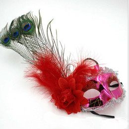 Wholesale Peacock Costume Girls - Wholesale-Women Girl Feather Flower Peacock Eye Mask Masquerade Halloween Cosplay Masks Carnival Costumes Accessories Fun Decor