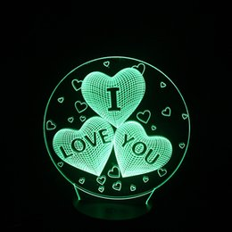Wholesale Love Heart Shape Light - Romantic 3D View Of The Love Heart-shaped LED Night Lights Gift Of Art From Optical Illusion for Marriage Valentine's Girlfriend Wife