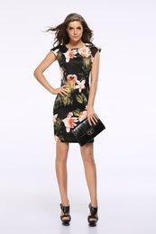 Wholesale Sexy Slim Women Cheongsam - Elegant Slim Large Flowers Cheongsam-style Pencil Dress For Women Fashion Short Sleeve Summer Printed Sexy Sheath Dresses XXXL