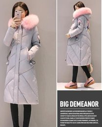 Wholesale Long Sections Trench Coats - Winter New cotton clothes Long Section above knee Coat Big Fur Collar Thicken Hooded Student Solid Color Women's Trench Coats