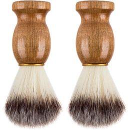 Wholesale Best Shave - Barber Hair Shaving Razor Brushes Natural Wood Handle Nylon Bristle Beard Brush For Men Best Gift Barber Tool CCA6824 100pcs