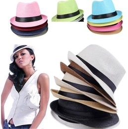 Wholesale Cowboy Hat Fit - Vogue Men Women sun caps Straw Hats Soft Fedora Panama Straw Hats Outdoor Stingy Brim hats 6 Colors Choose 0350
