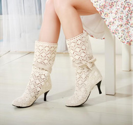 Wholesale Pump Dress Boots - 2016 Hot Women Knitting wool Hollow out Summer boots High heels boots 3 color shoes code 35~39