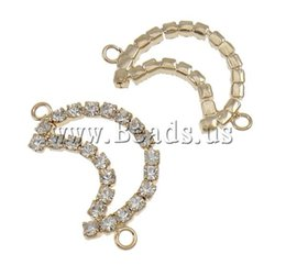 Wholesale Gold Rhinestone Love Connectors - Free shipping!!! 10PCs Lot Love Jewelry Moon KC gold color plated with rhinestone & 1 1 loop Brass Jewelry Connectors Findings