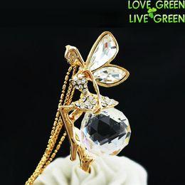 Wholesale Fairy Big - Wholesale-women 18K yellow gold plated Fashion big large 2cm Austrian Crystal Angel fairy Pendant Chain Necklace chocker jewelry 100
