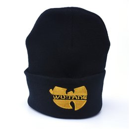 Wholesale Winter Hat Ski - High Quality WU TANG CLAN Men's Hats Unisex Winter Warm Casual Beanie Hat Women Hip Hop Black Knitted Bonnet Ski Gorros Toca hats