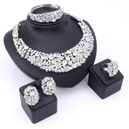 Wholesale Silver Costume Jewelry Sets - Trendy Jewelry Sets For Women Wedding Bridal Party Imitated Crystal SilvePlated Pendant Lady Costume Statement Necklace Earrings