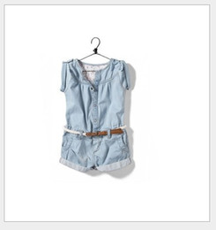Wholesale Girls Skirt Cowboy - 2016 Summer New Baby Girls Denim Jumpsuit Skirt Children Cowboy Pants Shorts With Belt Kids Conjoined Pants Cute Girl One-Piece Romper