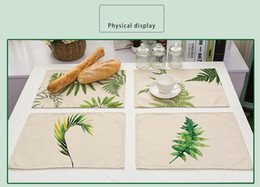 Wholesale wholesale ink pads - Ink Painting Green Leaves Placemat Pad Printing Cotton And Linen Table Mat Napkins Cotton Linen Fabric Table Pad