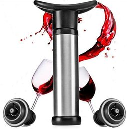 Wholesale Wine Bottle Vacuum Sealer - Wine Bottle Vacuum Pump Sealer Preserver Saver with 2 Push Button Wine Stoppers Vacuum Wine Saver Home Kitchen Bar Tool Accessory Portable