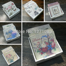 Wholesale Oil Paintings Woods - Wholesale- Creative And Novelty Home Supply Square Oil Painting Art Style 6pcs In A Holder Wooden Coaster