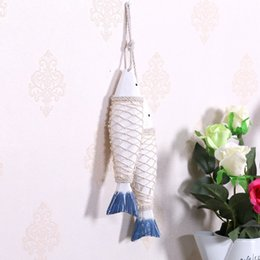 Wholesale Fishing Shopping - Free Shipping(2pcs lot) Wood Fish American Rural Nostalgia Ornaments Decoration Restaurant Decoration Coffee Shop Decoration