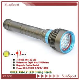 Wholesale Cree Magnetic - Super bright Lantern 7 x Cree XM-L2 T6 diving lamp 9000 Lumens Magnetic Control Diving Flashlight Torch 3 x 26650 flashlight