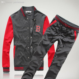 Wholesale Korean Baseball Hoodie - Wholesale-Free Shipping! New Fashion Mens Sport Sets Sweat Suits Korean Style Tracksuits Baseball Jacket Hoodies Sweatshirts and Pants