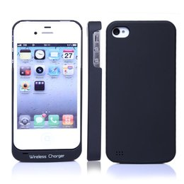 Wholesale Qi 4s - Qi Wireless Charger Charging Slim Case Receiver Module for Iphone 4 4G 4S Black