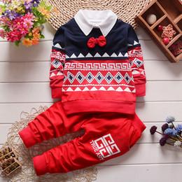 Wholesale Set Boy Piece Tie - Autumn kids clothes boys gentleman suit bow tie top+pant set 2 pieces children stripe clothes suit