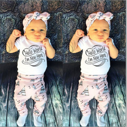 Wholesale Word World - 2016 Newborn Baby Boys Girls suits Hello World I'm new here funny words printed Romper+Long Pants+Cap 3PCS cute Outfits cotton top Clothes
